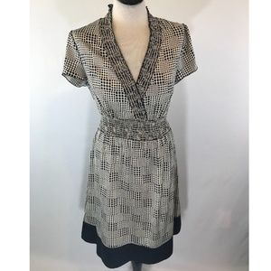 Banana Republic Smocked V Neck Cap Sleeve Dress
